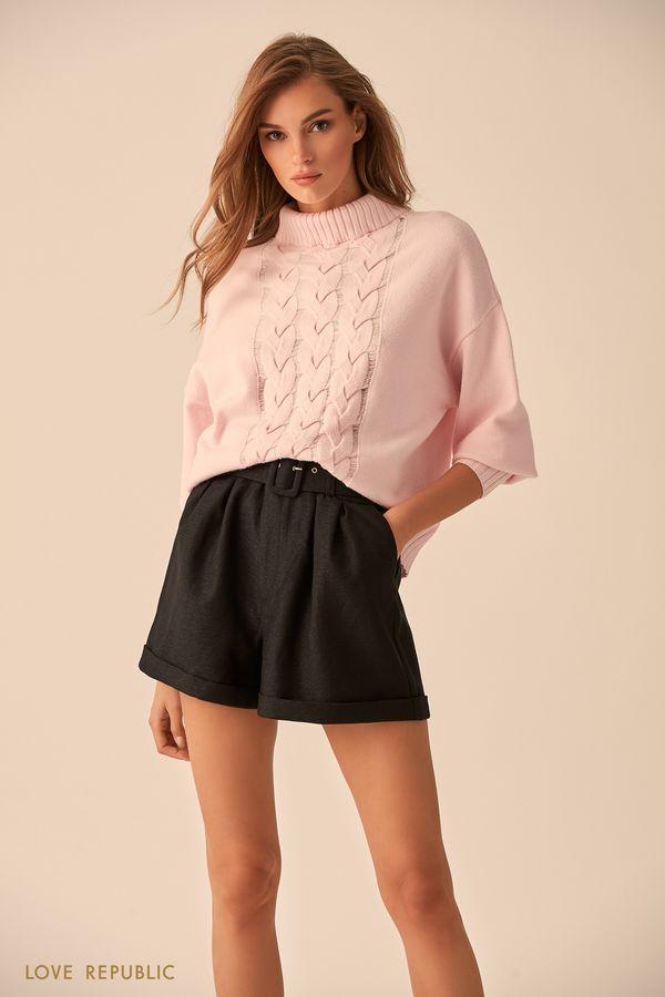 Фактурный свитер молочного цвета с высоким воротником 9451151855-60