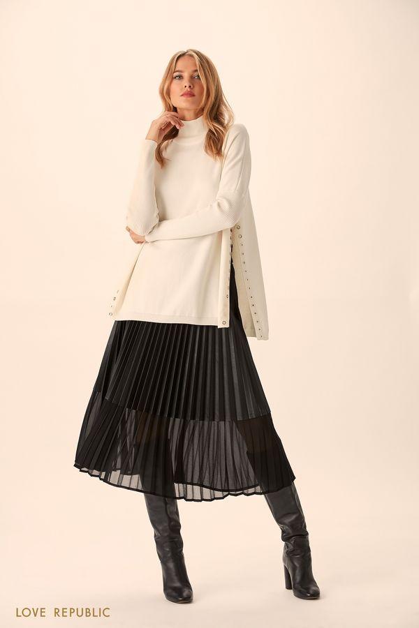 Тонкий свитер молочного цвета с боковыми разрезами 9451160861-60