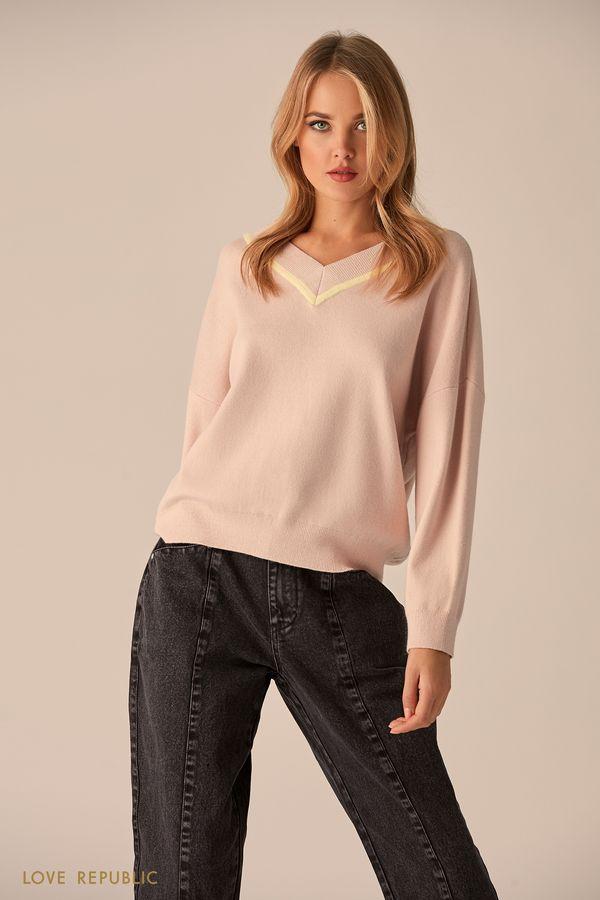 Джемпер розового цвета с контрастными полосками 9451163864-90