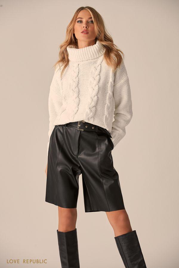 Объёмный свитер мятного цвета с высоким воротом 9451172819-19