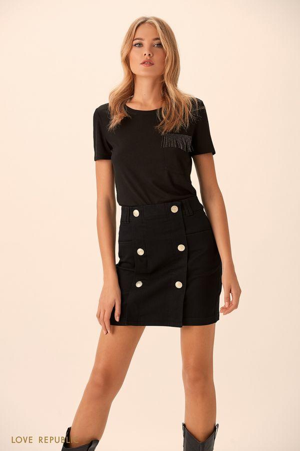 Мини-юбка из денима цвета индиго с пуговицами 9451195240-48
