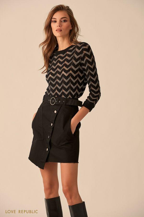 Хлопковая асимметричная юбка чёрного цвета 9451196241-50