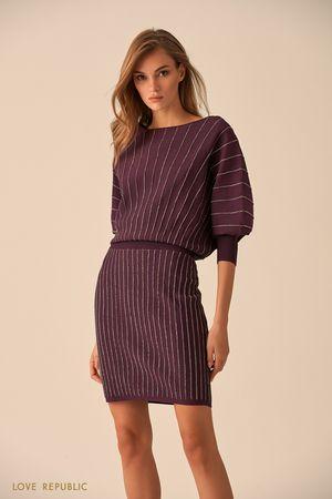 Короткое платье сливового цвета с серебристыми полосками фото