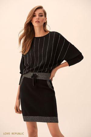 Трикотажный джемпер чёрного цвета с укороченными рукавами