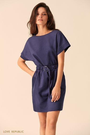 Мини-платье тёмно-синего цвета с широкими рукавами 94513120501