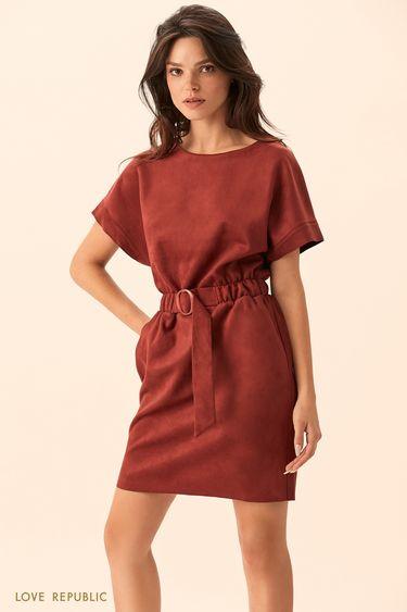 Мини-платье вишнёвого цвета с широкими рукавами  94513120501