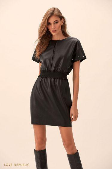 Мини-платье из искусственной кожи с короткими рукавами 9451313508