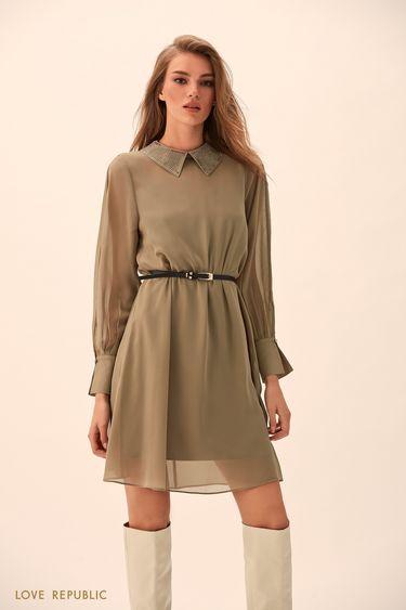 Платье цвета хаки с полупрозрачным верхним слоем  94513150511