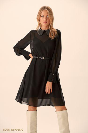 Мини-платье с полупрозрачным слоем  9451315511