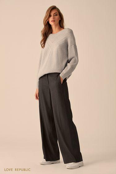 Широкие брюки с принтом из вертикальных полос 9451316713