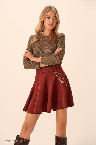 Короткая юбка в складку вишнёвого цвета 94513190216