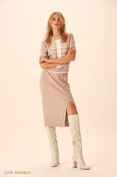 Трикотажная юбка миди с асимметричным разрезом 94513830203
