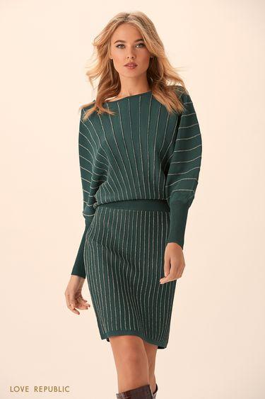 Короткое платье изумрудного цвета с серебристыми полосками 94513830502