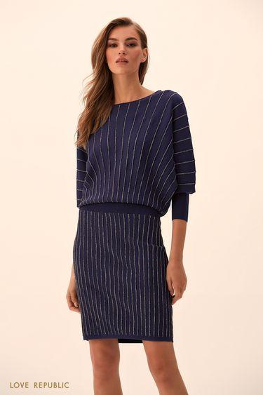 Короткое платье тёмно-синего цвета с серебристыми полосками 94513830502