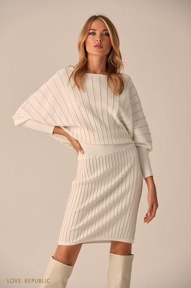 Короткое платье молочного цвета с серебристыми полосками 94513830502