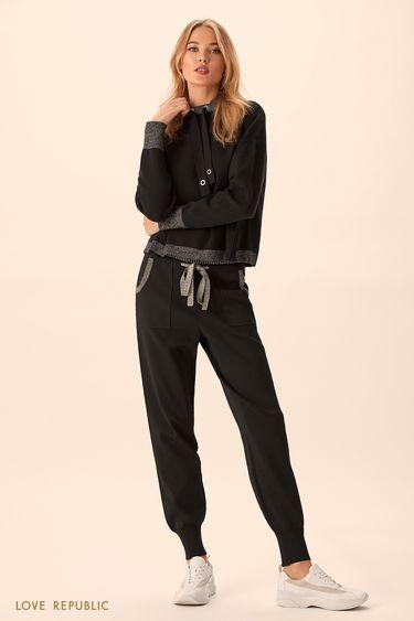 Трикотажные чёрные брюки с широким эластичным поясом 9451383702