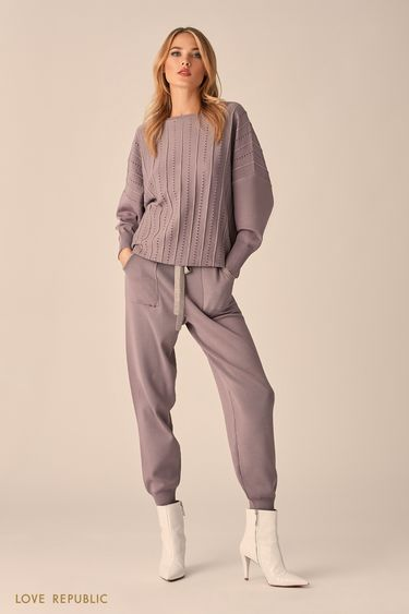 Трикотажные брюки в теплом сером оттенке с широким эластичным поясом 9451383702