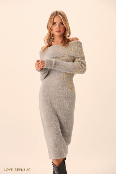 Трикотажное платье миди из пряжи с ворсом 9451390505