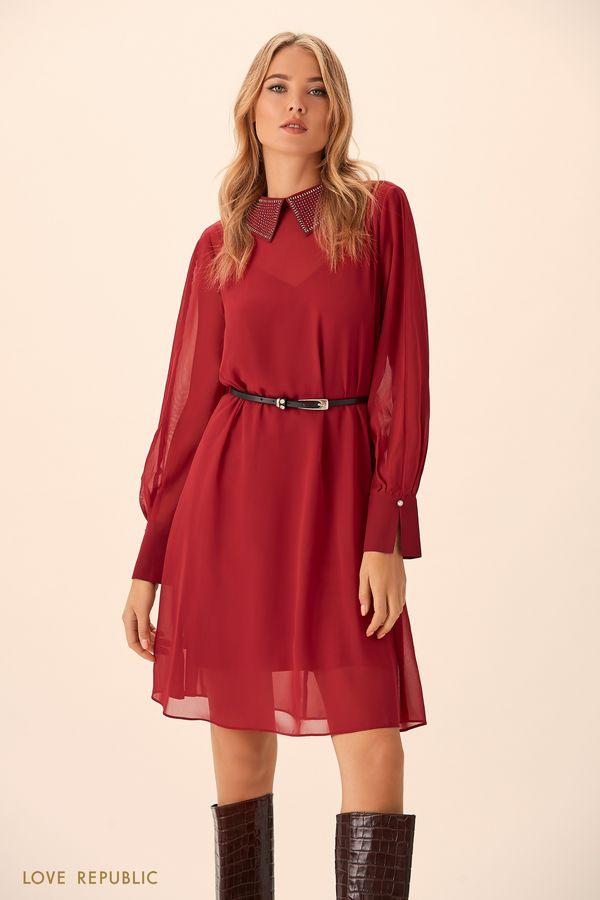 Платье вишнёвого цвета с полупрозрачным верхним слоем 94513150511-76