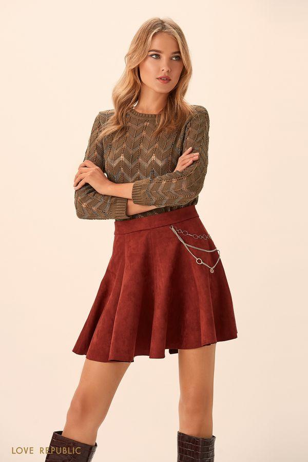 Короткая юбка в складку тёмно-синего цвета 94513190216-47