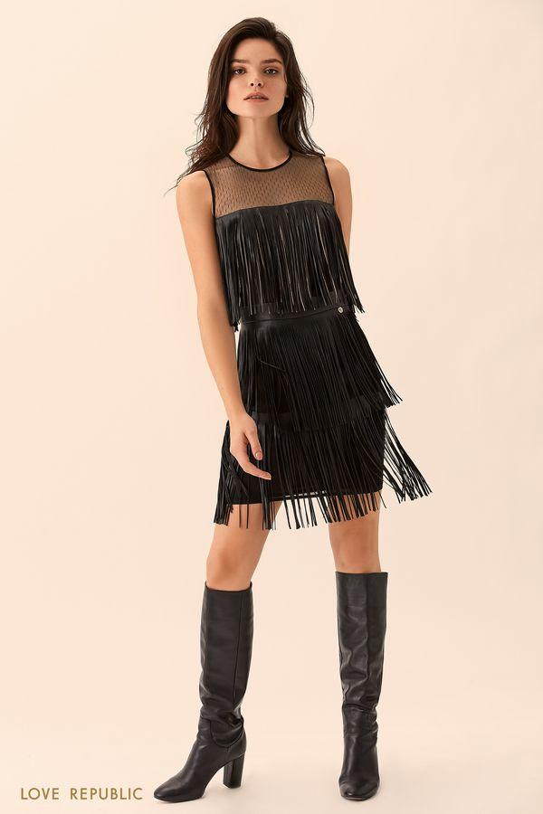 Мини-платье без рукавов с бахромой 9451320520-50