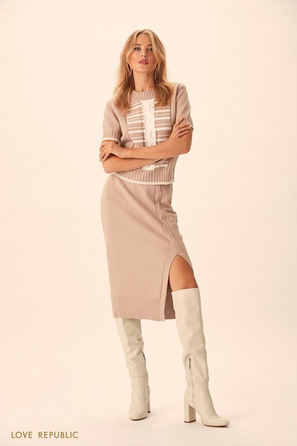 Трикотажная юбка миди с асимметричным разрезом 94513830203-62