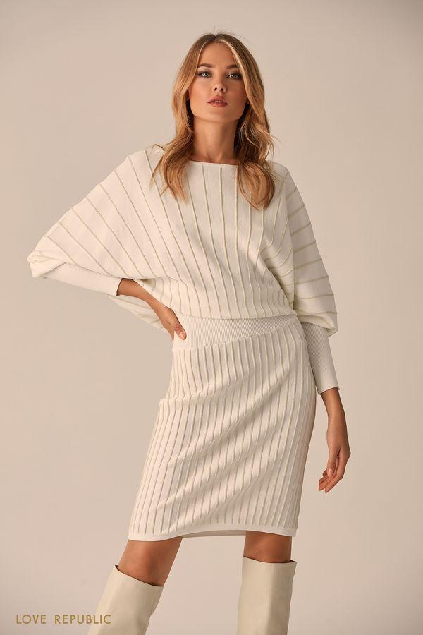 Короткое платье тёмно-синего цвета с серебристыми полосками 94513830502-47