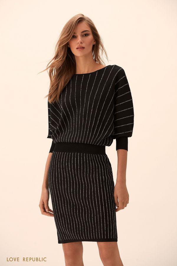 Трикотажное платье чёрного цвета с объёмным верхом 9451383502-50