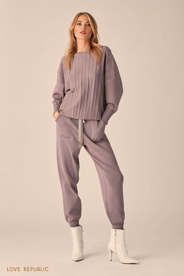 Трикотажные брюки в теплом сером оттенке с широким эластичным поясом 9451383702-68