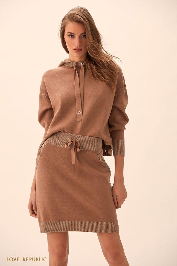 Бежевая короткая юбка гладкой вязки 94513900204-62