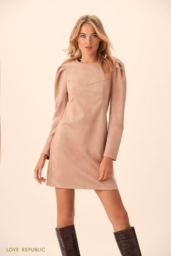 Мини-платье из замши на кокетке 9451561553-68