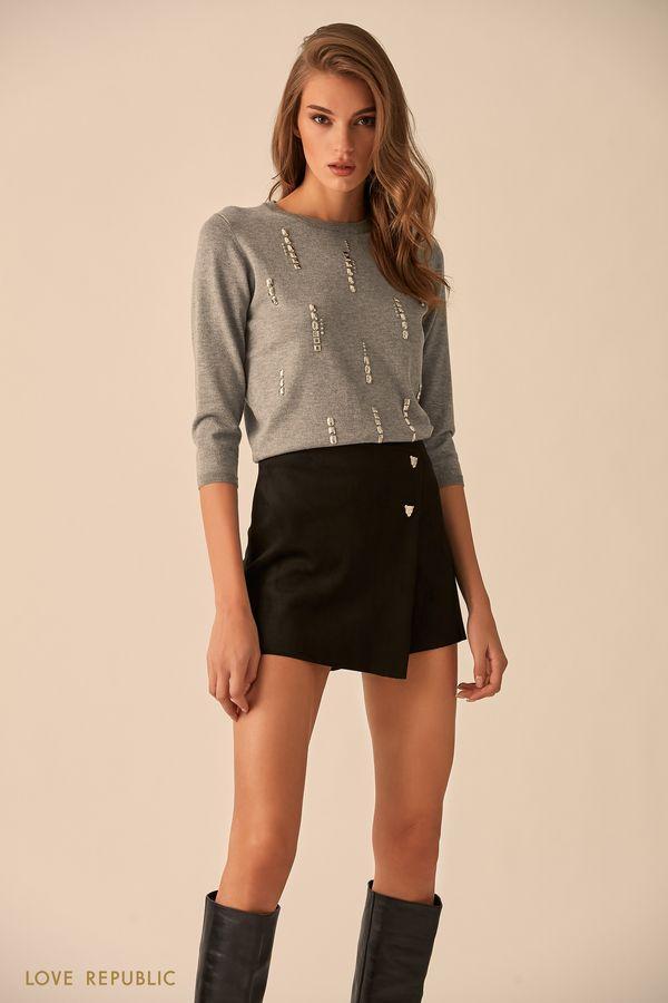 Юбка-шорты чёрного цвета с серебристым декором 9451561731-50