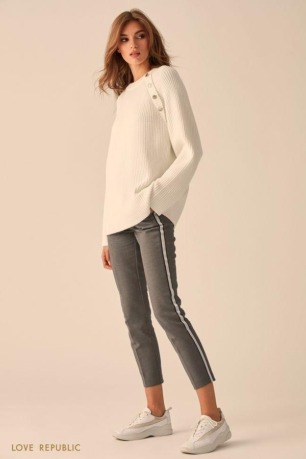 Короткие хлопковые брюки с контрастной отделкой 9451562732-32