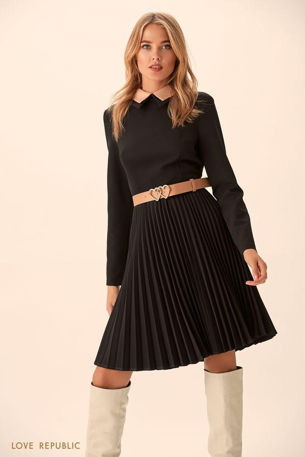 Мини-платье сплиссированной юбкой 9451564557-50