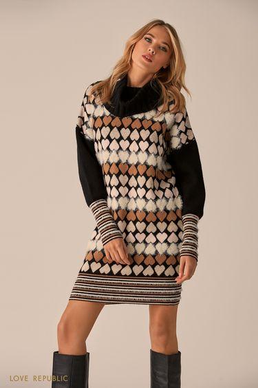 Трикотажное платье с принтом в виде сердец 9451633552