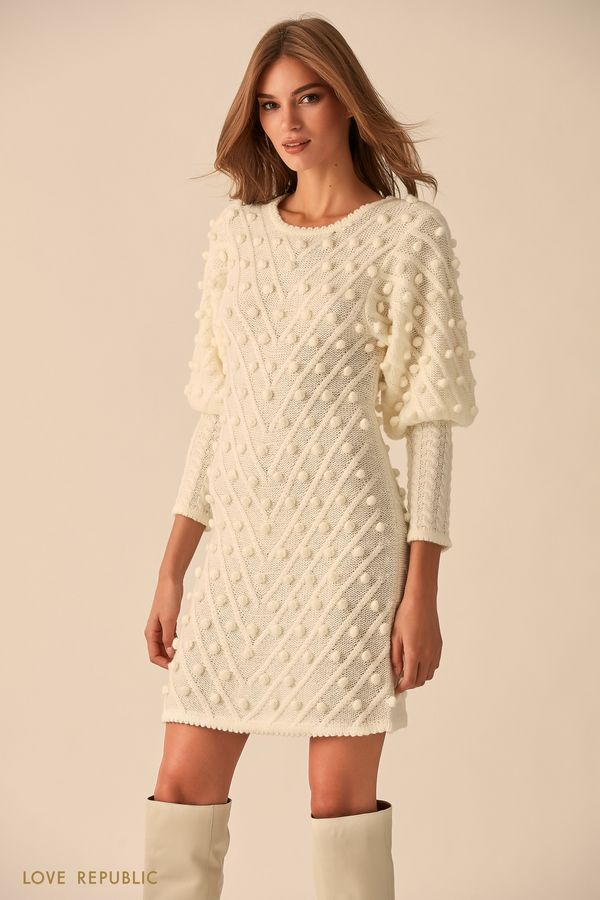Платье цвета нуги с объёмными деталями 9451638571-68