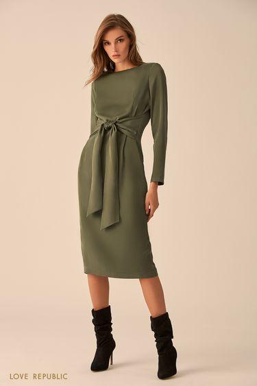 Платье оливкового цвета с поясом 9451771544