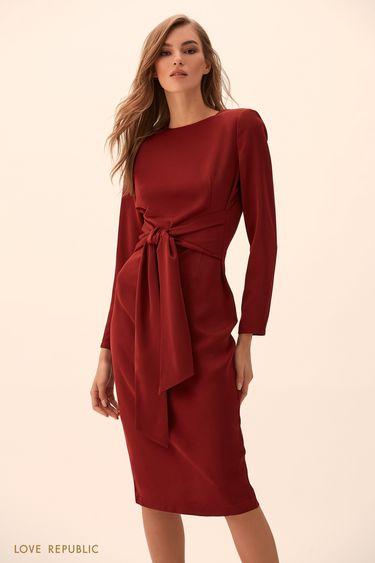 Платье вишнёвого цвета с поясом 9451771544