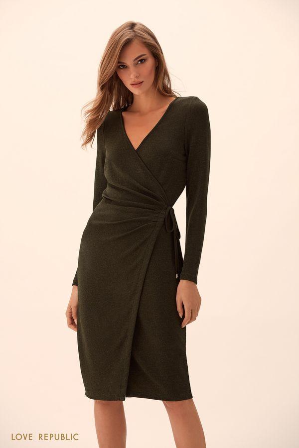 Платье на запахе из ткани цвета хаки с люрексом 9451760524-13