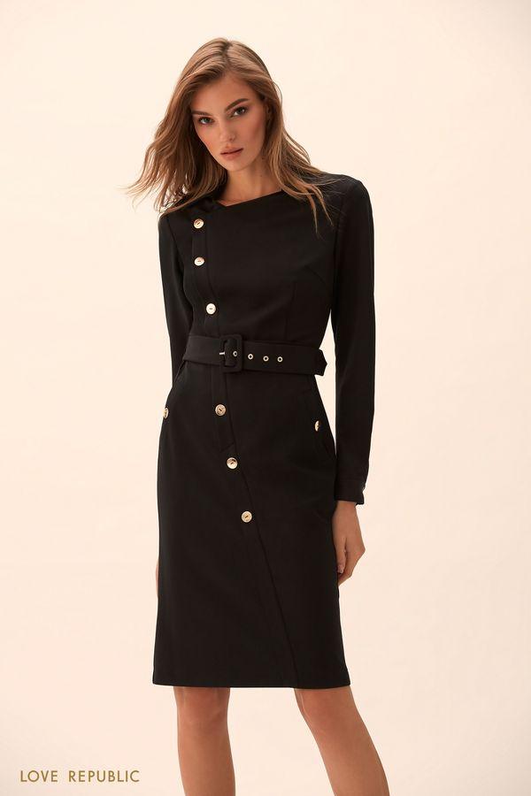 Платье миди с асимметричными пуговицами 9451761526-50
