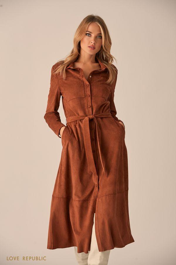 Длинное платье-рубашка из бархатистой ткани  9451763530-21