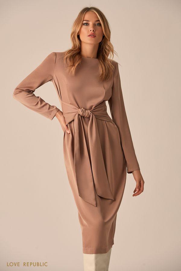 Платье песочного цвета с поясом 9451771544-63