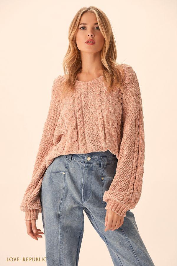 Джемпер пыльно-розового цвет из бархатистого трикотажа 9451890839-93
