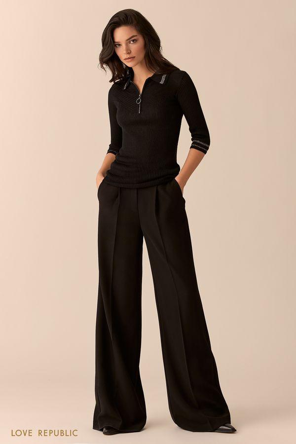 Джемпер-поло чёрного цвета с молнией 9451895859-50