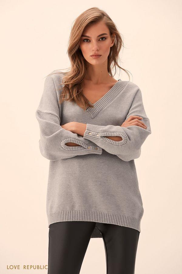 Объёмный джемпер цвета светло-серый меланж 9451896816-33