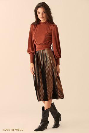 Блузка медного цвета с открытой спиной и бантом на талии фото