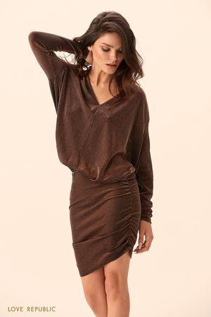Платье медного цвета с объёмным верхом фото