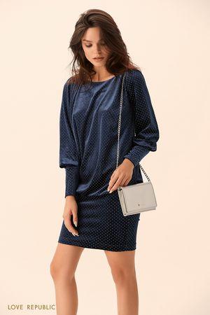 Платье тёмно-синего цвета с вырезом на спине фото