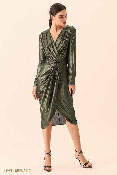 Платье изумрудного цвета на запахе с поясом 9452005566