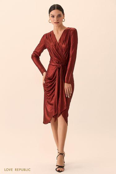Платье кирпичного цвета на запахе с поясом 9452005566